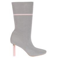 Boots  - Madison Pink Slim Heel Boot In Grey Knit