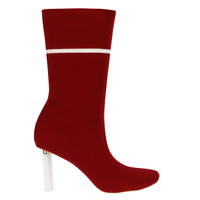 Boots  - Madison White Slim Heel Boot In Maroon Knit
