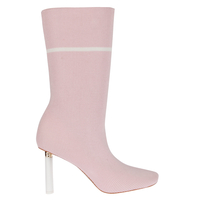 Boots  - Madison White Slim Heel Boot In Pink Knit