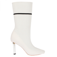 Boots  - Madison White Slim Heel Boot In White Knit
