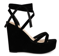 Sandals  - Maisy Block Wedge Lace Up Sandal In Black Faux Suede