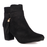 Mia Ankle Boots In Black Faux Suede