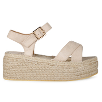 Casuals  - Rosella platform espadrille in Nude faux suede