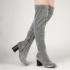 Talia Over The Knee Long Boot In Silver Shimmer Knit