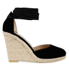 Tama Lace Up Wedge Espadrille Heel In Black Faux Suede