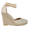 Tama Lace Up Wedge Espadrille Heel In Nude Faux Suede