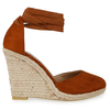 Tama Lace Up Wedge Espadrille Heel In Tan Faux Suede