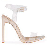 High Heels  - Tammi Strappy Patent Heel In Nude With Perspex Fastening