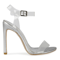 High Heels  - Tammi Strappy Patent Heel In Silver With Perspex Fastening