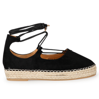 Flats  - Tanya  espadrille in Black faux suede