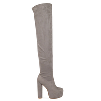 Boots  - Tanya Chunky Platform Long Boots In Grey Faux Suede