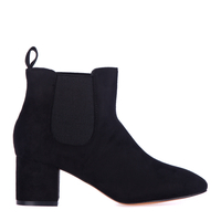 Boots  - Tara Elasticated Low Ankle Rounded Toe Boots In Black Faux Suede
