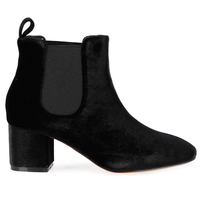 Boots  - Tara Elasticated Low Ankle Rounded Toe Boots In Black Velvet