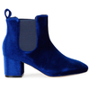 Tara Elasticated Low Ankle Rounded Toe Boots In Blue Velvet