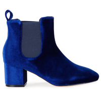Boots  - Tara Elasticated Low Ankle Rounded Toe Boots In Blue Velvet
