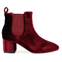Boots  - Tara Elasticated Low Ankle Rounded Toe Boots In Red Velvet