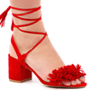 Thalia Fringed Lace Up Block Heels In Red Faux Suede