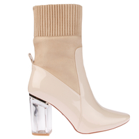 Boots  - Thea High Ankle Boot In Nude Patent