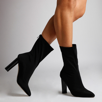 Boots  - Zina Black High Ankle Boot In Lycra