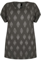 Grey & Silver Diamond Print Top With Turn-Back Sleeves