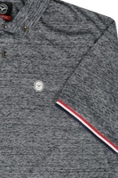 LE BREVE Charcoal Grey Mixed Darren Polo Shirt With Stripe Cuffs