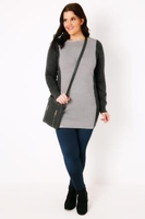 Jumpers  - Light & Dark Grey Colour Block Knitted Tunic