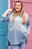 Casual Shirts  - Light Blue Faded Wash Longline Denim Shirt With Pocket