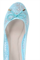 Low Shoes  - Light Blue Floral Mesh Ballerina Pump With Bow Detail In E Fit