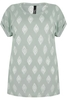 Short Sleeve Light Green & White Diamond Print Top With Turn-Back Sleeves