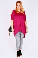 Short Sleeve  - Magenta Oversized Top With Cold Shoulder Cut Out & Extreme Dipped Hem