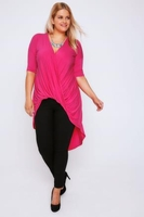 Short Sleeve  - Magenta Pink 3/4 Sleeve Twist Front Extreme Dip Back Top