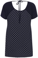 Navy & White Polka Dot Print Panel Top With Back Tie