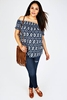 Navy And White Jersey Smock Bardot Top With Ikat Print