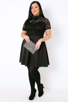 PRASLIN Black Turtle Neck Skater Dress With Lace Bodice & Sweetheart Cutout