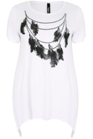 White & Black Bead & Feather Print Top With Glitter Detail