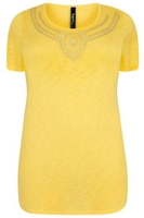 Yellow Textured Jersey Top With Jewel Embellishment
