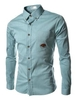 Casual Shirts Synthetic Leather Trim Shirt