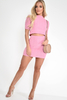 Sportswear Co-Ord - Pink Cable Knit Crop Top And Skirt Co-ord - Galiana
