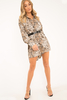 Dresses Dress - Beige Snake Print Shirt Dress - Haigen