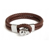 Double Row Leather Skull Bracelet steel and brown