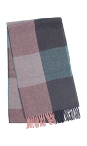 Herringbone Check Merino Scarf Rose