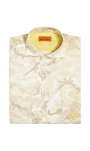Japanese Made Camo Linen Taupe and Yellow Shirt