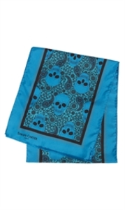 Skulls And Paisley Teal Silk Scarf