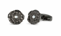 Cufflinks  - Tudor Rose In Gunmetal With Mother Of Pearl Cufflink