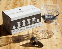 Hario V60 Glass Coffee Brewing Kit Black Clear
