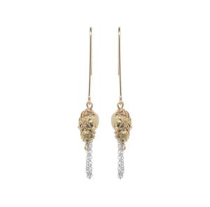Earrings  - GOLD SKULL AND CHAIN DROP EARRING:  Handmade by Kat&Bee Jewellery