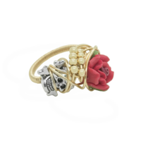 Rings  - GOLD SKULL, CROSSBONE AND RED FLOWER WRAP RING:  Handmade by Kat&Bee Jewellery