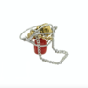 Rings Silver and Gold Skull Ring- Red by Kat&Bee Jewellery