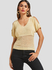 Clothing Beige V-neck Cutout Cold Shoulder Ripped Knit Top