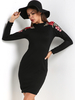 Clothing Black Flowers Embroidered Round Neck Long Sleeves Dress